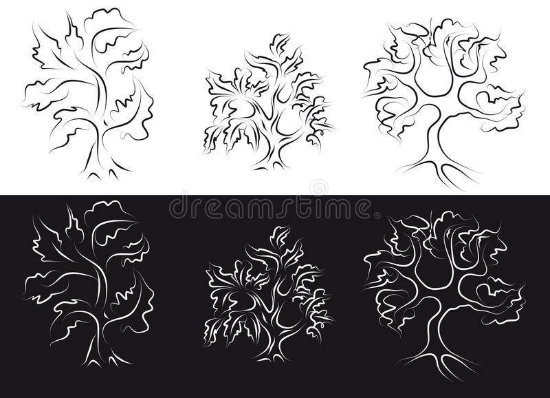 Download Outline trees stock vector. Image of black, isolated - 13836629