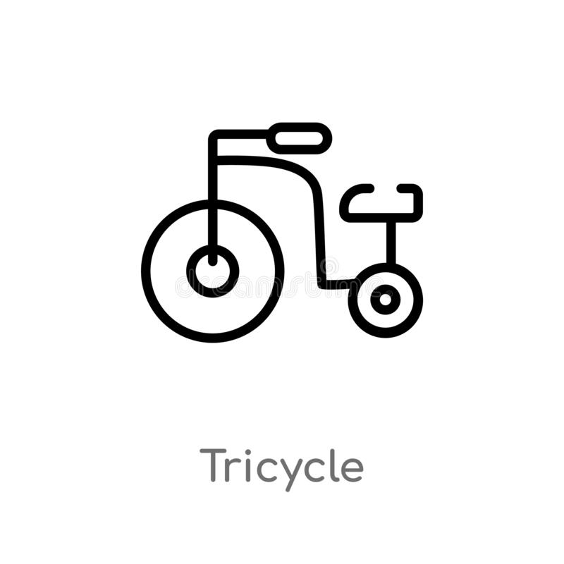 outline tricycle vector icon. isolated black simple line element illustration from kid and baby concept. editable vector stroke vector illustration