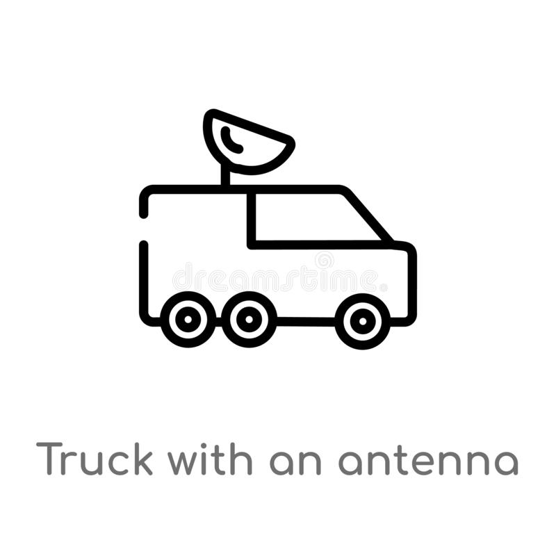 outline truck with an antenna on it vector icon. isolated black simple line element illustration from mechanicons concept. stock illustration