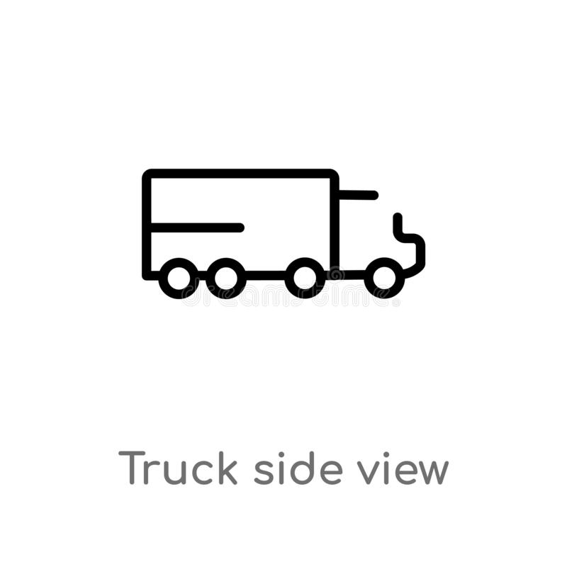 outline truck side view vector icon. isolated black simple line element illustration from mechanicons concept. editable vector royalty free illustration