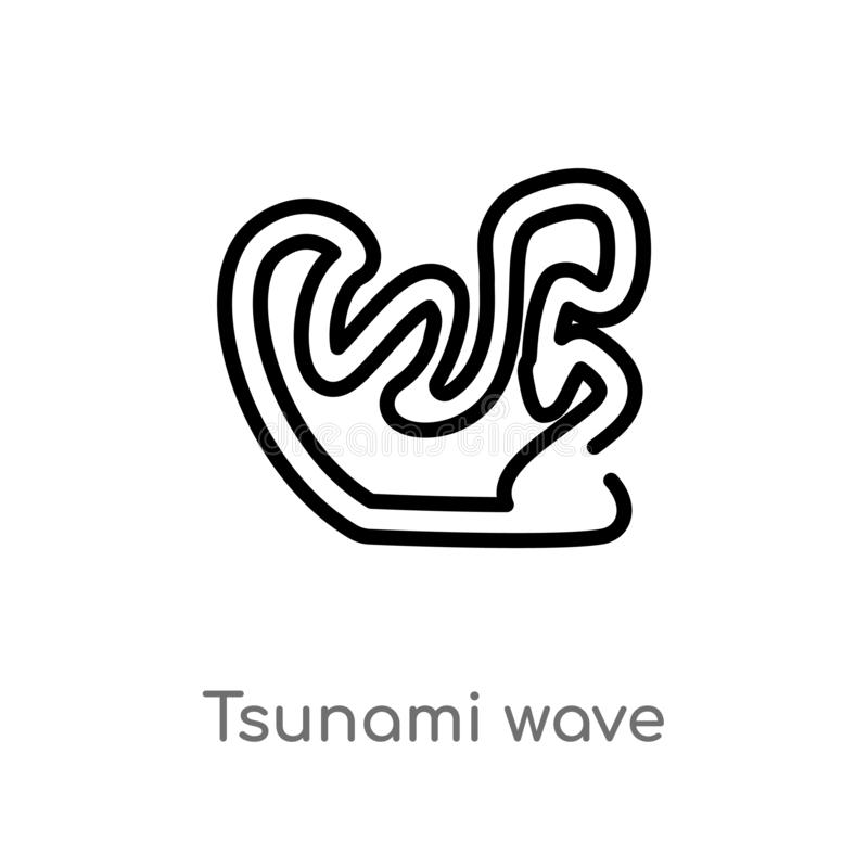 Outline tsunami wave vector icon. isolated black simple line element illustration from meteorology concept. editable vector stroke. Tsunami wave icon on white vector illustration