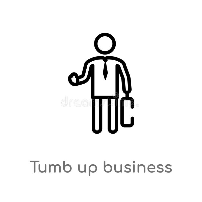 outline tumb up business man vector icon. isolated black simple line element illustration from people concept. editable vector stock illustration