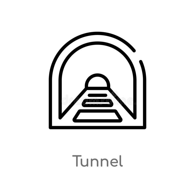Outline tunnel vector icon. isolated black simple line element illustration from signs concept. editable vector stroke tunnel icon. On white background vector illustration