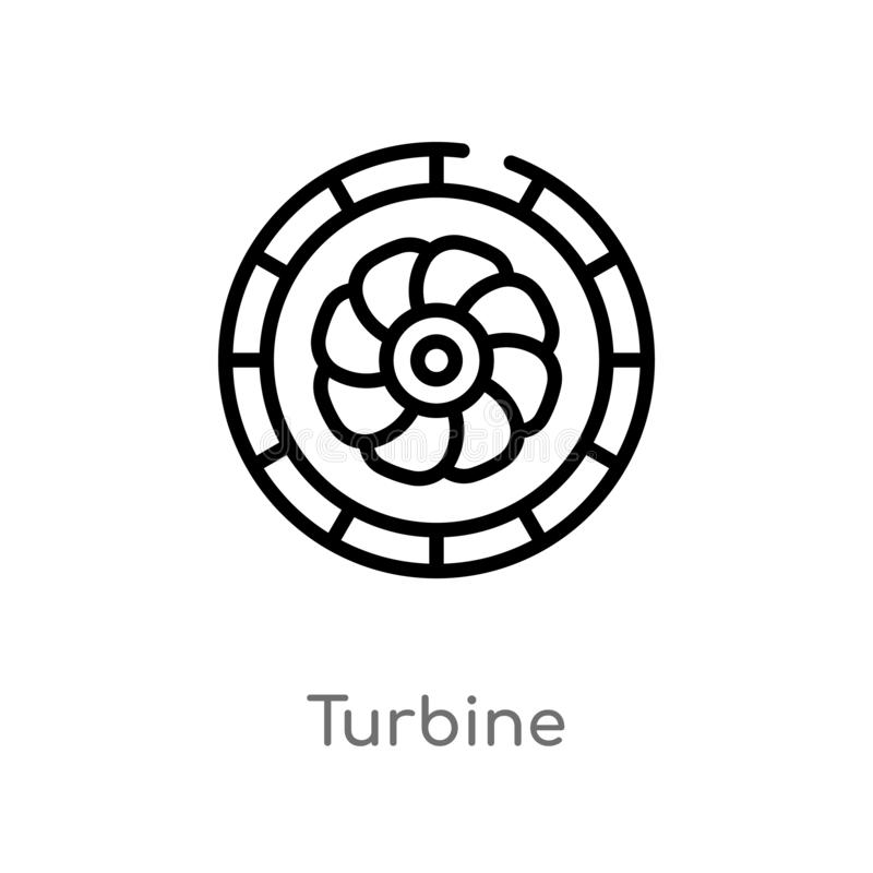 Outline turbine vector icon. isolated black simple line element illustration from electronic devices concept. editable vector. Stroke turbine icon on white royalty free illustration