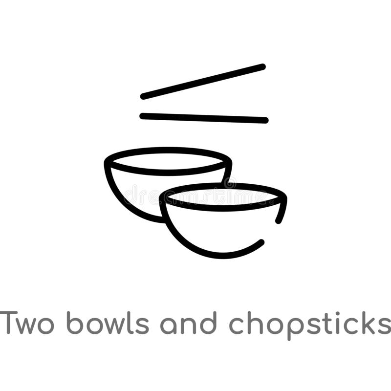 Outline two bowls and chopsticks vector icon. isolated black simple line element illustration from tools and utensils concept. Editable vector stroke two bowls stock illustration