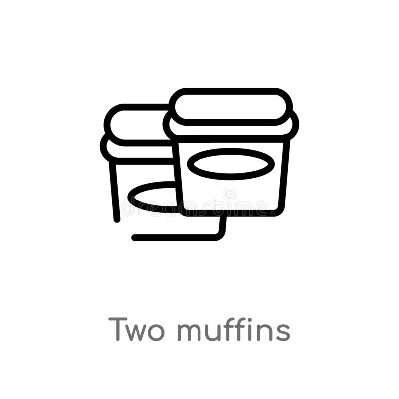 Outline two muffins vector icon. isolated black simple line element illustration from party concept. editable vector stroke two. Muffins icon on white vector illustration