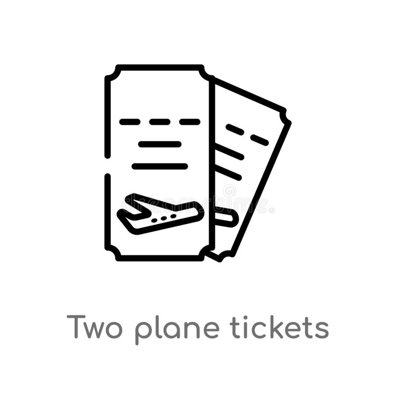 outline two plane tickets vector icon. isolated black simple line element illustration from airport terminal concept. editable royalty free illustration