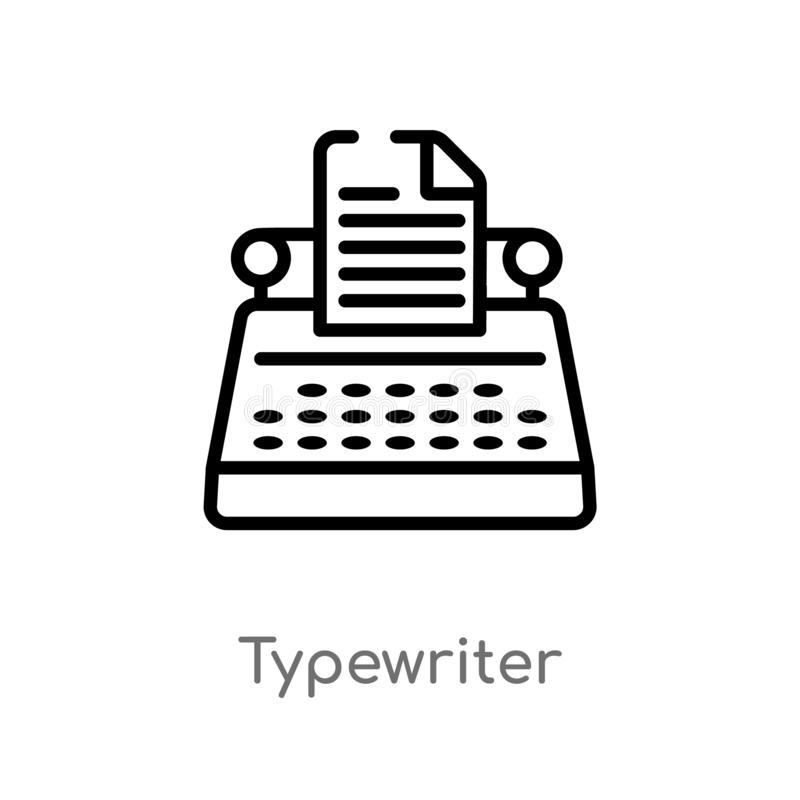 Outline typewriter vector icon. isolated black simple line element illustration from electronic devices concept. editable vector. Stroke typewriter icon on stock illustration