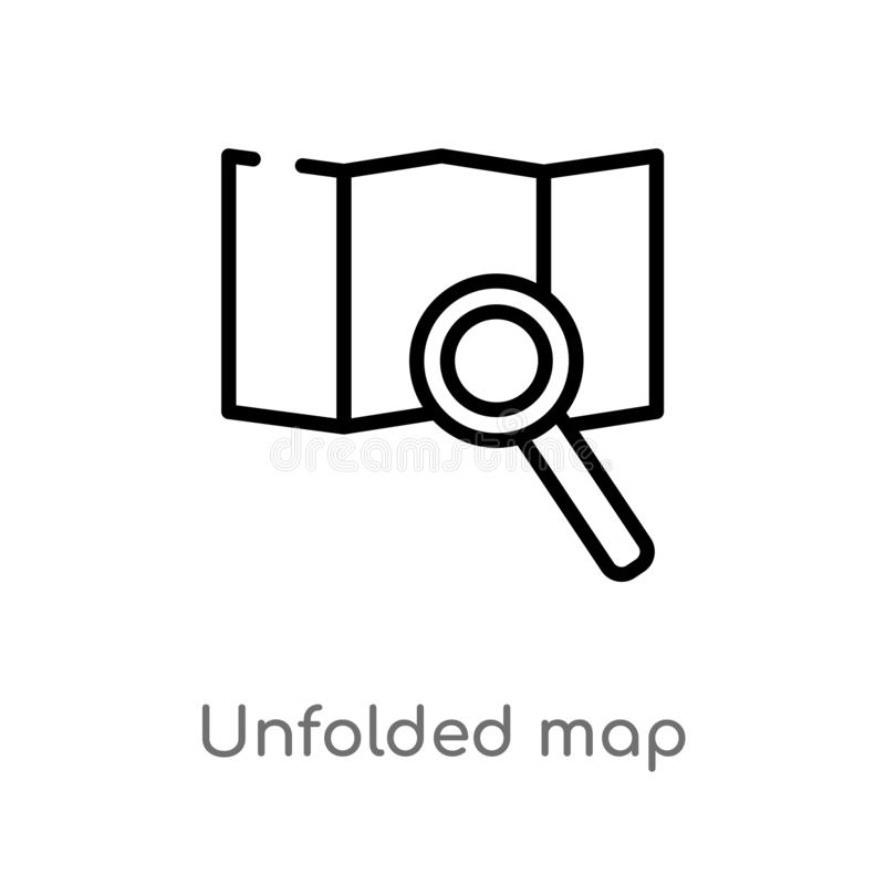 outline unfolded map vector icon. isolated black simple line element illustration from travel concept. editable vector stroke stock illustration