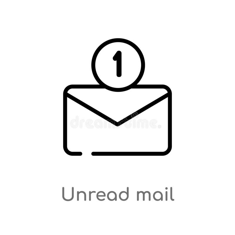 outline unread mail vector icon. isolated black simple line element illustration from user interface concept. editable vector stock illustration
