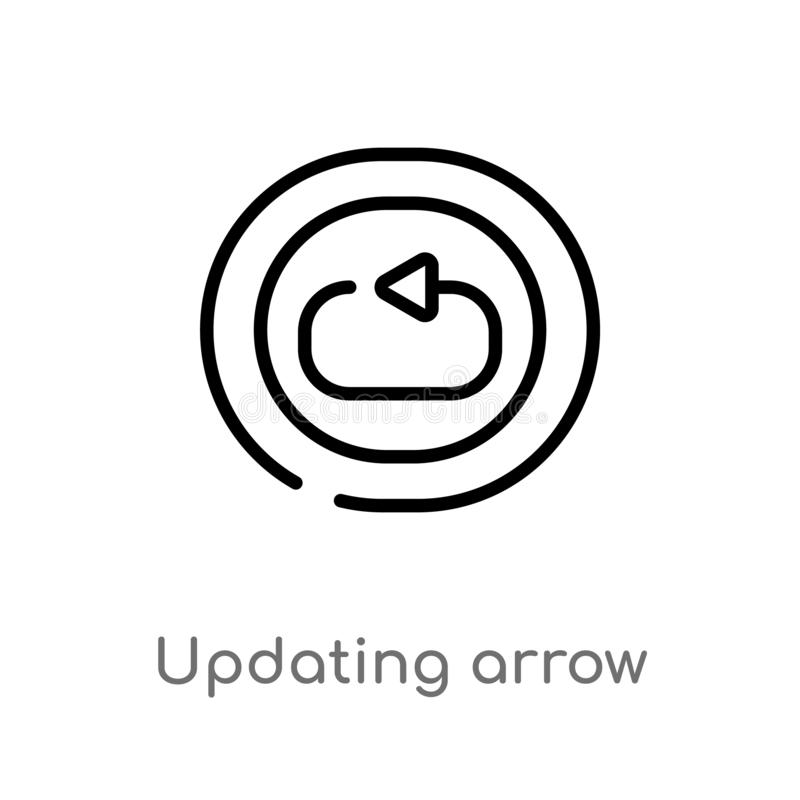 Outline updating arrow vector icon. isolated black simple line element illustration from user interface concept. editable vector. Stroke updating arrow icon on royalty free illustration