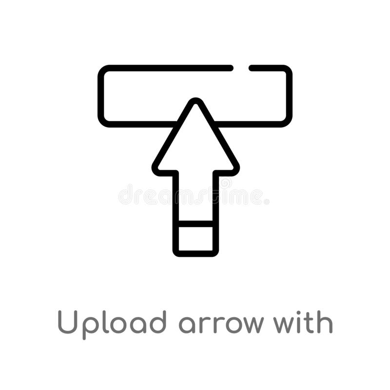 Outline upload arrow with bar vector icon. isolated black simple line element illustration from ultimate glyphicons concept. Editable vector stroke upload royalty free illustration