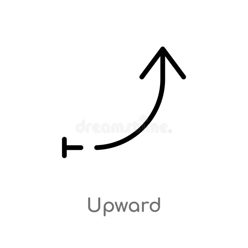 outline upward vector icon. isolated black simple line element illustration from arrows 2 concept. editable vector stroke upward royalty free illustration