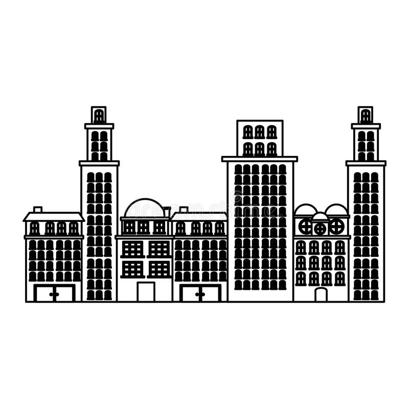Outline urban cityscape and residential apartments scene icon. Illustration vector illustration