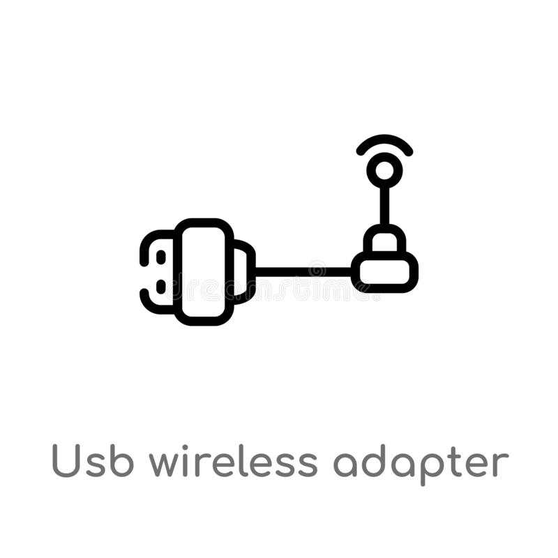 Outline usb wireless adapter vector icon. isolated black simple line element illustration from electronic devices concept. Editable vector stroke usb wireless stock illustration
