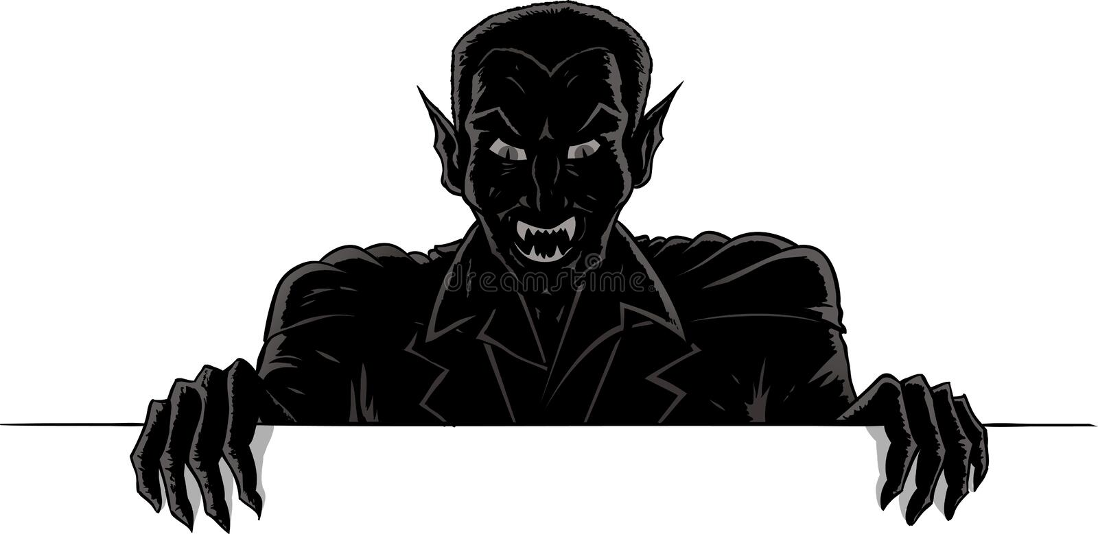 Download Outline Of A Vampire Holding Up A Sign Stock Vector - Image: 25734929