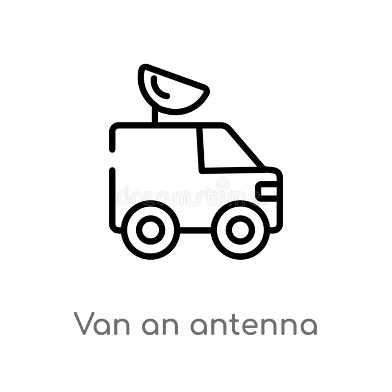 outline van an antenna vector icon. isolated black simple line element illustration from mechanicons concept. editable vector vector illustration