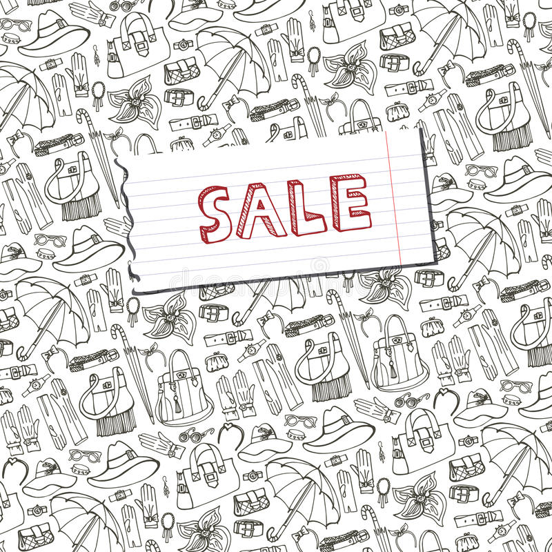 Outline Vector Female Accessories background.Sale royalty free illustration