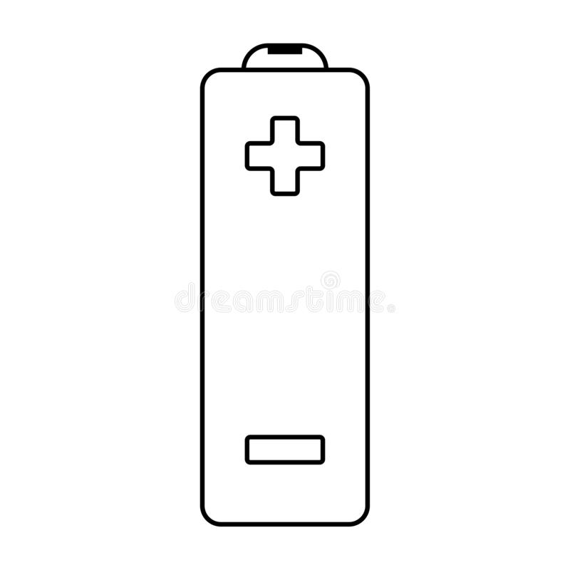 Outline vector flat battery icon with plus and minus sign vector illustration