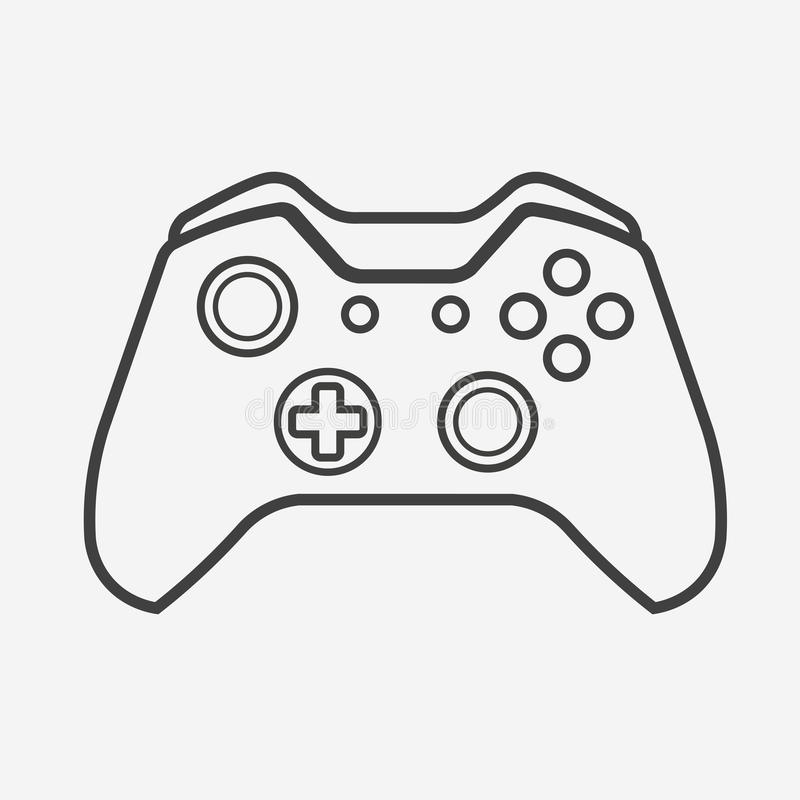 Outline Vector Gamepad. Joypad, Joystick Illustration on White Background stock illustration