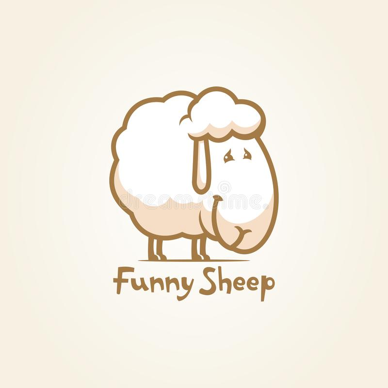 Funny sheep cartoon character outline vector icon stock illustration