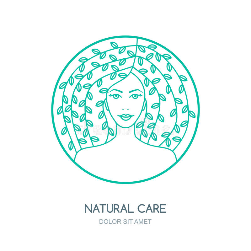 Outline vector illustration of woman with leaves in hair. Vector logo, badge, label design. Concept for beauty salon, natural and organic cosmetics product royalty free illustration