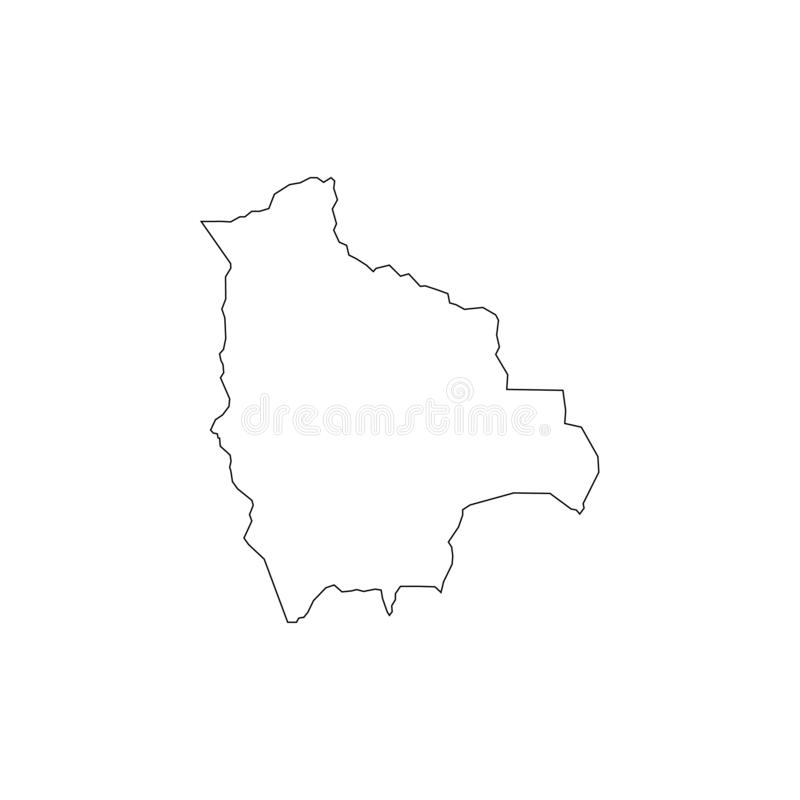 Outline vector map of Bolivia. Simple Bolivia border map. Vector silhouette on white background vector illustration