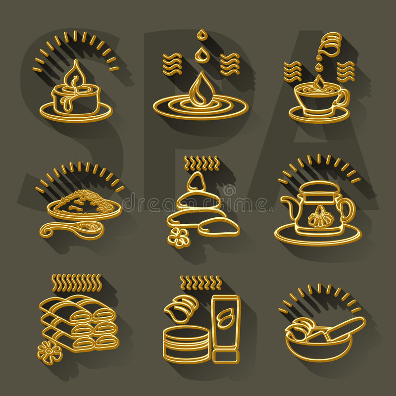Outline vector set spa theme icons on dark background. Outline vector set spa theme golden icons on dark gray background stock illustration