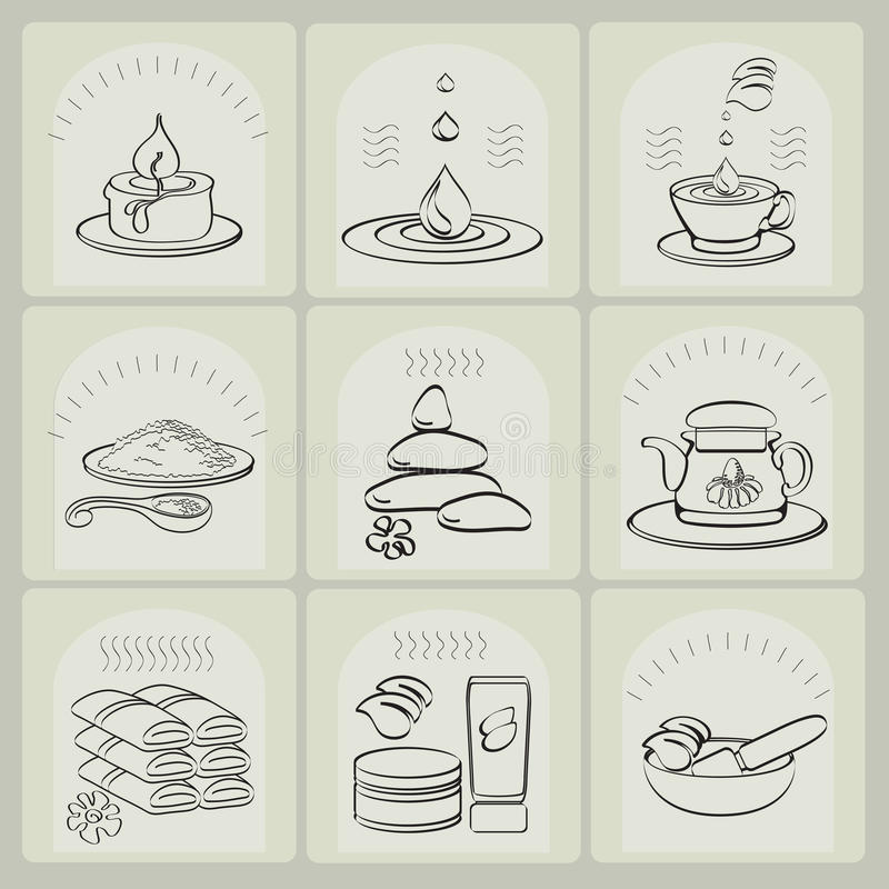 Outline vector set spa theme icons. Outline vector set spa theme icons on light background royalty free illustration