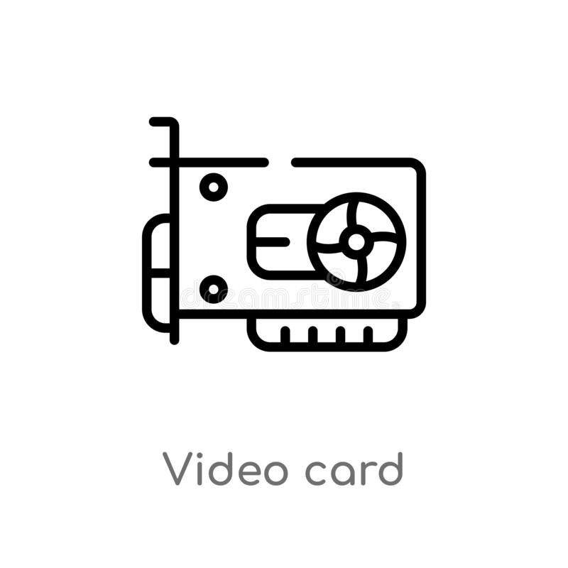 Outline video card vector icon. isolated black simple line element illustration from electronic devices concept. editable vector. Stroke video card icon on vector illustration