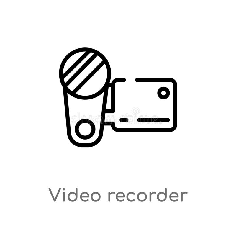 Outline video recorder vector icon. isolated black simple line element illustration from electronic devices concept. editable. Vector stroke video recorder icon stock illustration