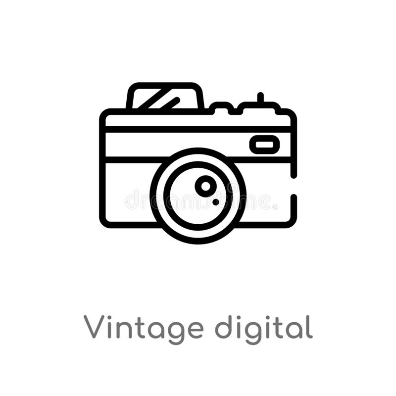 Outline vintage digital camera vector icon. isolated black simple line element illustration from technology concept. editable. Vector stroke vintage digital vector illustration