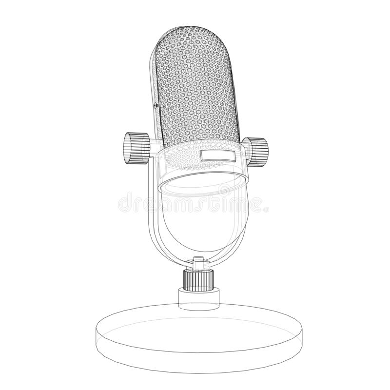 Free Outline Vintage Microphone Royalty Free Stock Photography - 190879317