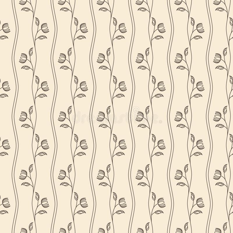 Outline vintage seamless beige pattern with flower. Flat style. Vector illustration vector illustration
