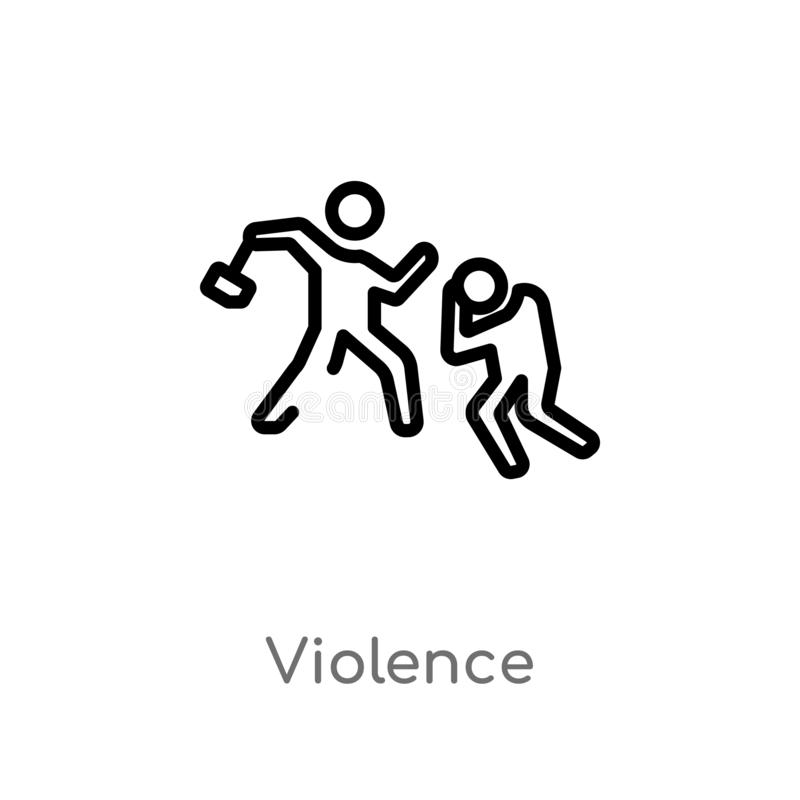 outline violence vector icon. isolated black simple line element illustration from law and justice concept. editable vector stroke royalty free illustration