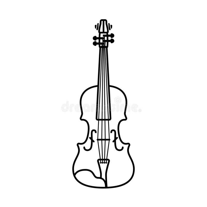 Outline violin isolated illustration. Black contour on white background royalty free stock photos