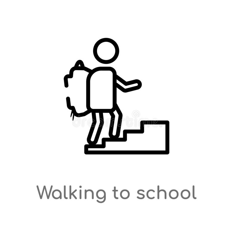 Outline walking to school vector icon. isolated black simple line element illustration from people concept. editable vector stroke. Walking to school icon on stock illustration