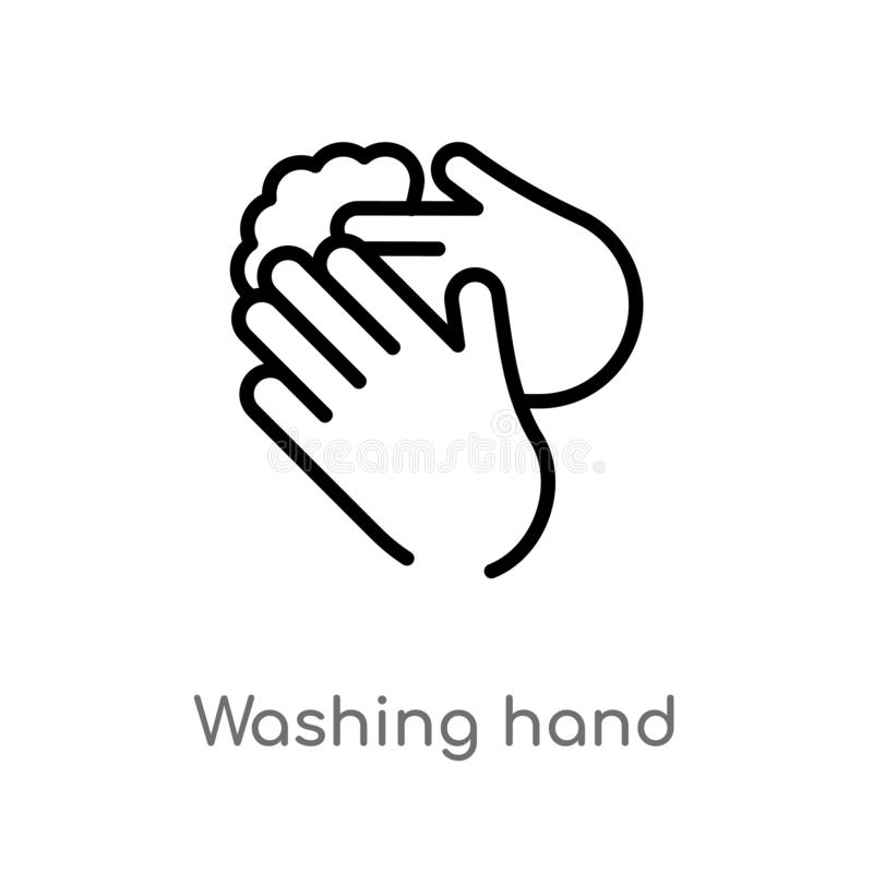 outline washing hand vector icon. isolated black simple line element illustration from cleaning concept. editable vector stroke stock illustration