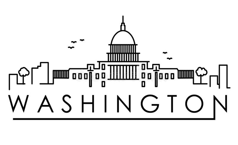 Outline Washington DC USA City Skyline with Modern Buildings Isolated. Vector Illustration. Washington DC Cityscape with Landmarks royalty free illustration