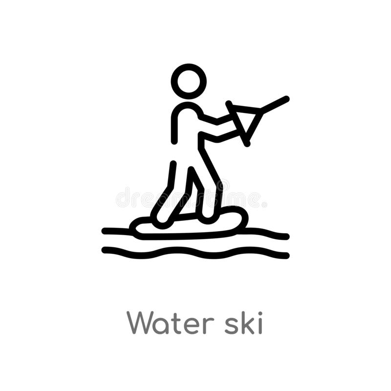 Outline water ski vector icon. isolated black simple line element illustration from sports concept. editable vector stroke water. Ski icon on white background royalty free illustration