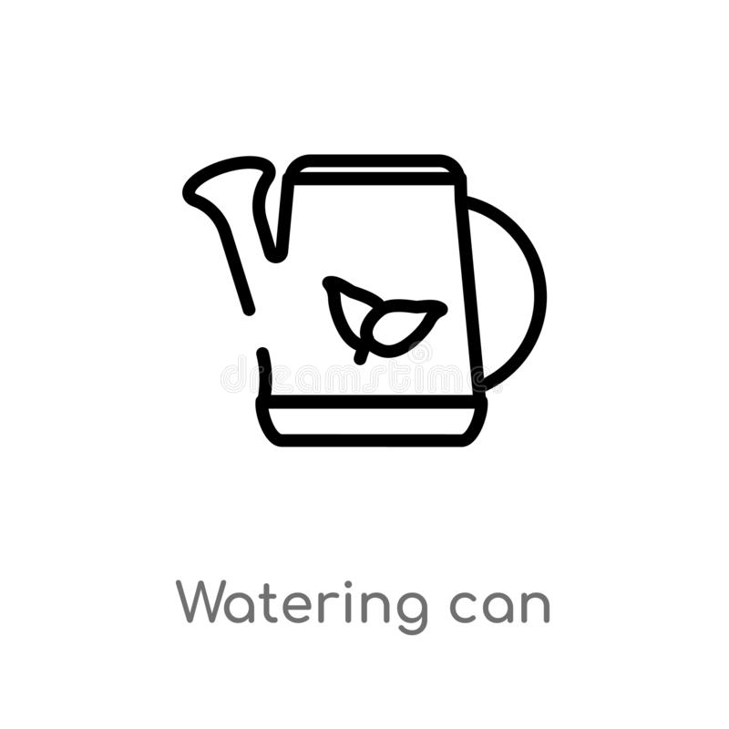outline watering can vector icon. isolated black simple line element illustration from ecology concept. editable vector stroke stock illustration