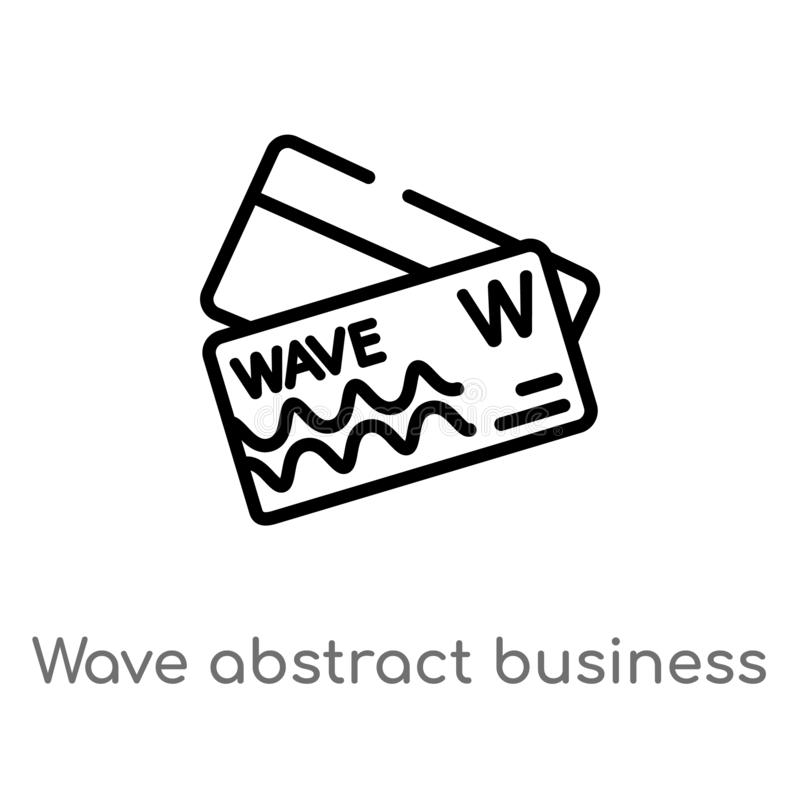 Outline wave abstract business card vector icon. isolated black simple line element illustration from other concept. editable. Vector stroke wave abstract royalty free illustration
