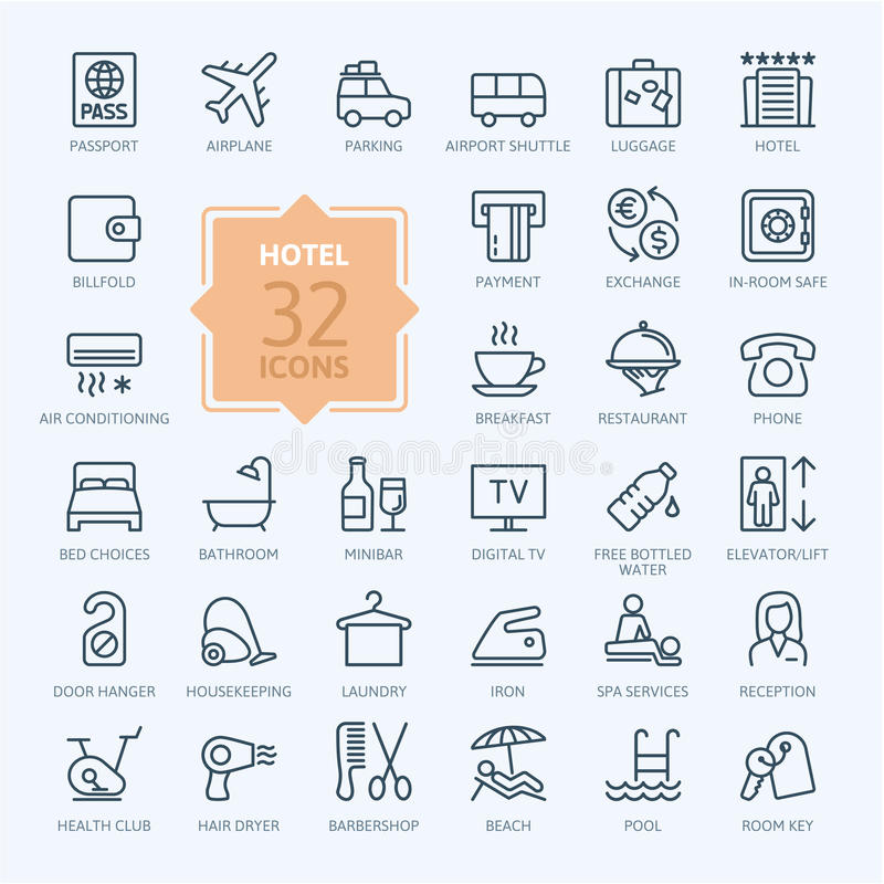 Outline web icon set - Hotel services royalty free illustration