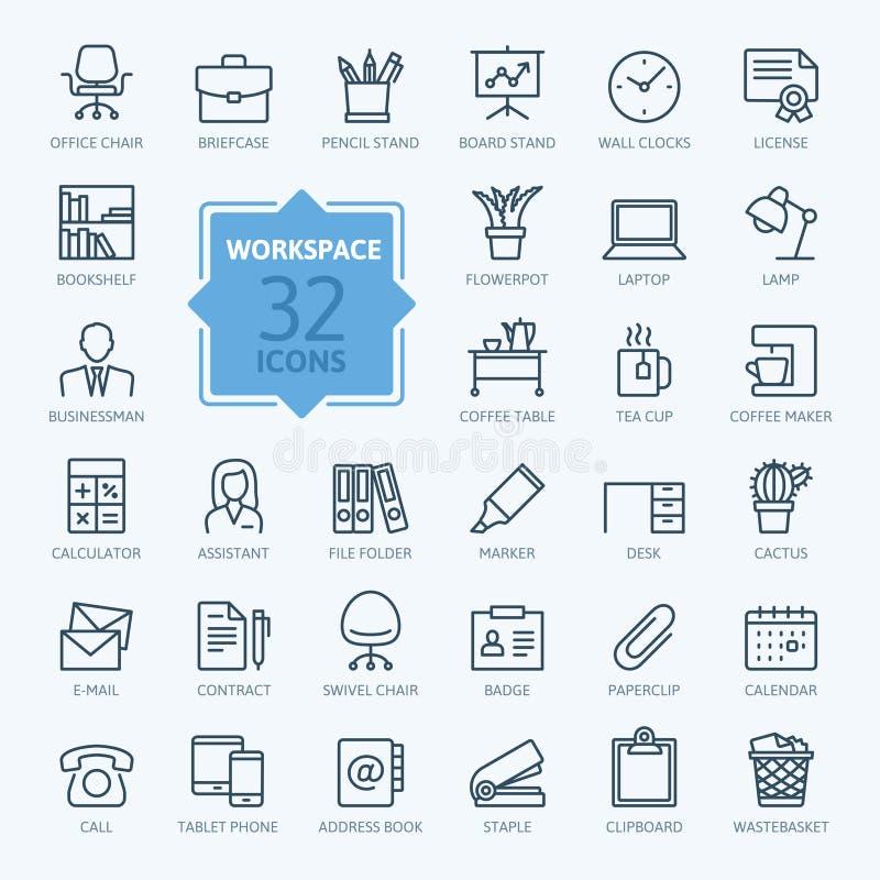 Outline web icon set - office workspace stock illustration