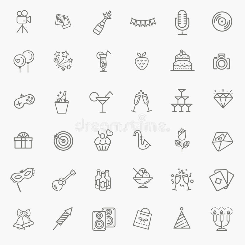 Outline web icon set - Party, Birthday, Holidays stock illustration