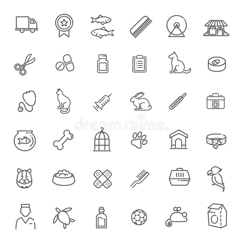 Free Outline Web Icon Set - Pet, Vet, Pet Shop, Types Of Pets Royalty Free Stock Photo - 69940045