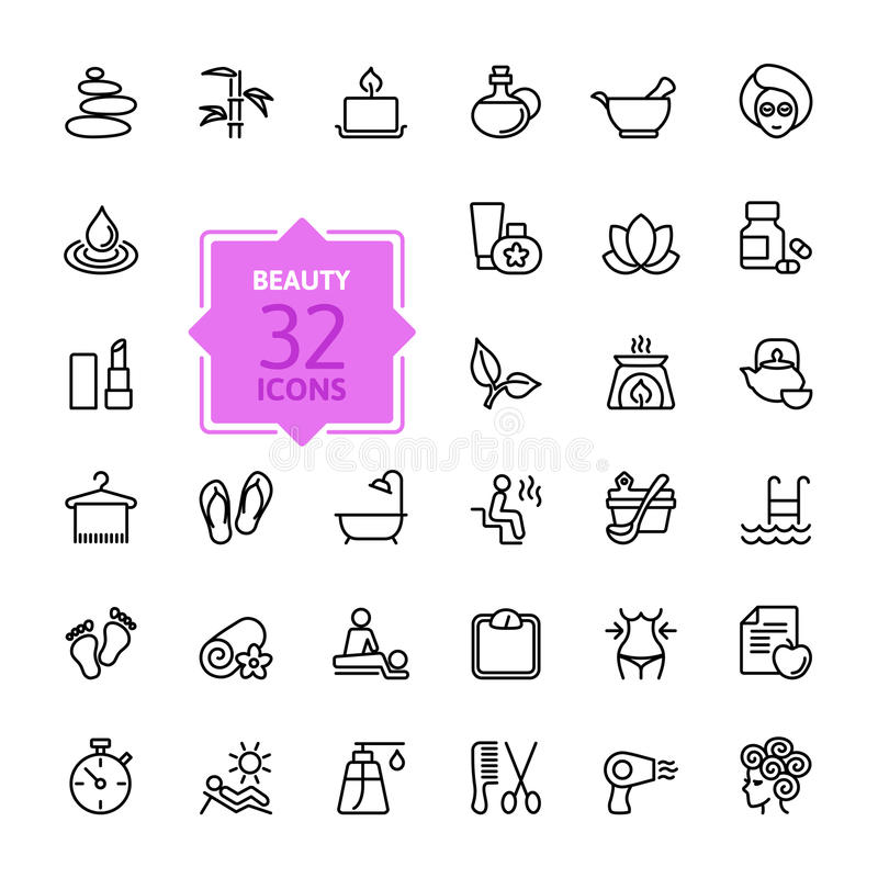 Outline web icon set - Spa & Beauty stock illustration