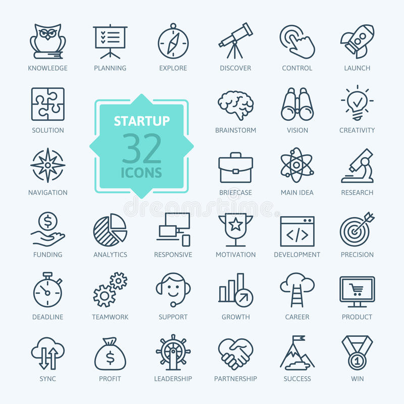 Outline web icon set - start-up project royalty free illustration