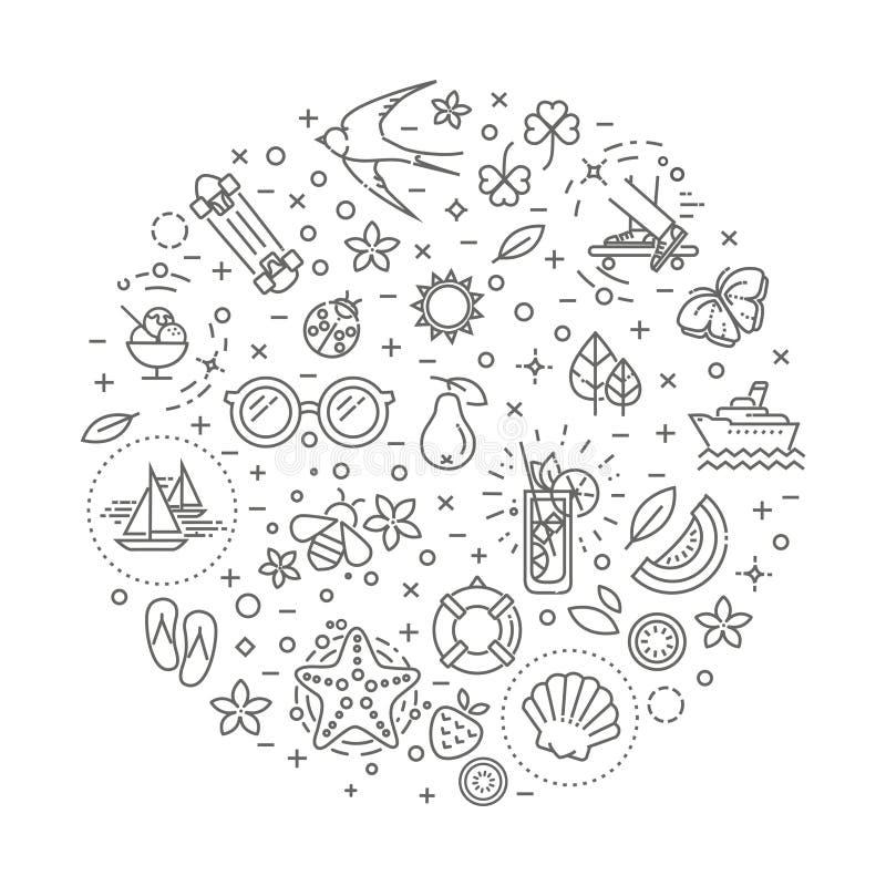 Outline web icon set - summer, vacation, beach stock illustration