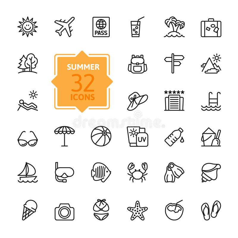 Outline web icon set - summer, vacation, beach vector illustration